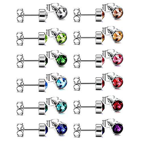 HO2NLE Ohrstecker Medizinische Ohrringe Set 6mm Ohrschmuck Edelstahl Piercing Ohr 12 Paar Piercings für Damen Herren Empfindlicher Muskel