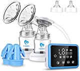Breast Pump, Bellababy Portable Silicone Breastfeeding Pumps with Lid, BPA Free & 100% Food Grade Silicone, Small & Discreet Breast Milk Pump for Mother (Blue)