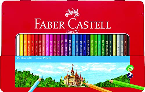 Faber-Castell 115888 - Estuche de metal con 48 lápices de colores, 2 ecolápices de grafito, goma de borrar y afilalápices, multicolor