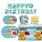 Birthday Pokemons Party Supplies Set, Pikachu Theme Party Decoration includes Happy Birthday Banner, Plates, Forks, Tablecover, Napkins for Baby, Boys and Girls