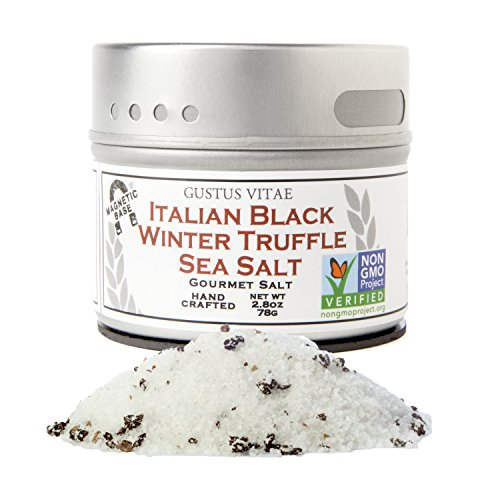 Italian Black Winter Truffle Sea Salt - Gourmet Infused Salt - Non GMO Verified - Sustainably Sourced - Small Batch - Magnetic Tin - Hand Packed