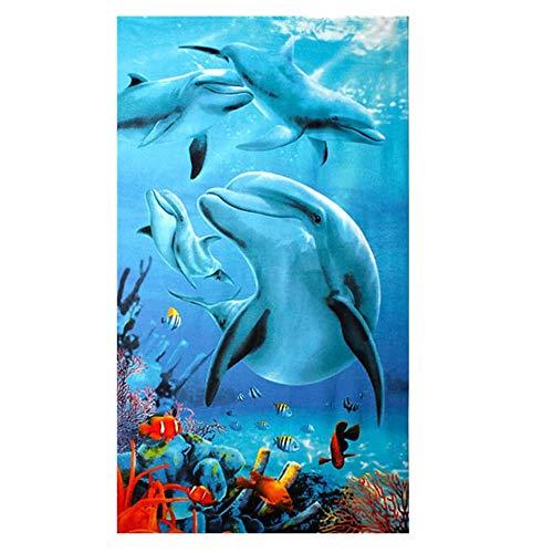 Große Strandtücher Badetuch Schnell Trocknend Wasseraufnahme Extra Microfiber,Pferde,Delphin, Hawaii-Motiv 100 x180CM,Mehrfarbig (Vier Delfine)