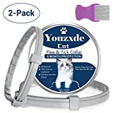 Youzxde Flea and Tick Collar for Cats with Flea Comb,8-Month Tick and Flea Control for Cats,Adjustable Design-One Size Fits All,Safe & Allergy Free, Waterproof,2 Pack
