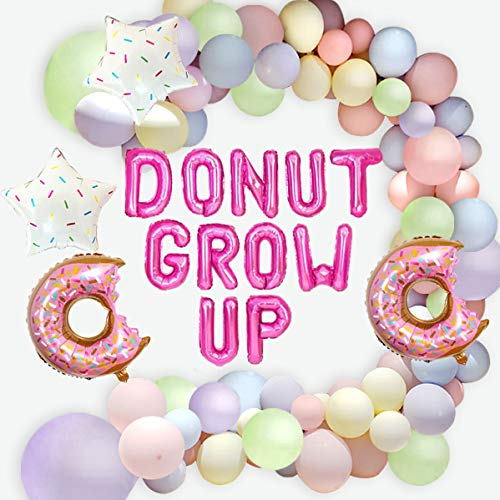 Jollyboom Donut Balloon Garland Arch Kit Donut Grow Up Party Decorations Supplies with Macaron Pastel Balloons