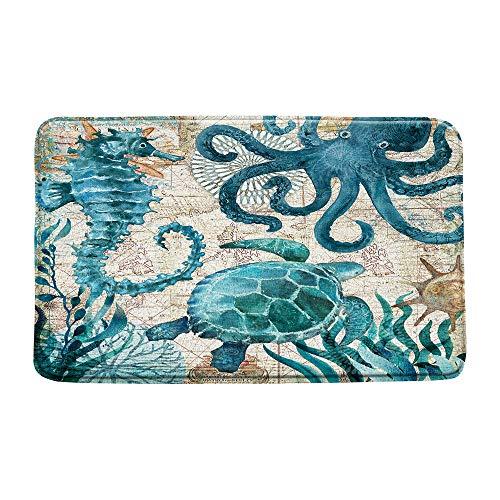 Ocean Theme Foam Bath Mat Blue Turtle Octopus Seahorse Rubber Non Slip Bathroom Rugs Flannel Coastal Navigation Map Summer Ocean Life Soft Bathroom Mat/Bath Rugs - 30x18 Inch/45x 75cm