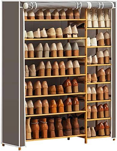 Rack de zapatos 7 niveles Zapato de zapatos Rack de zapatos de alta fila con cubierta a prueba de polvo y marco de madera para Dormitorio Corredor de inicio Aplicante Aplicante Multifunción Rack de al