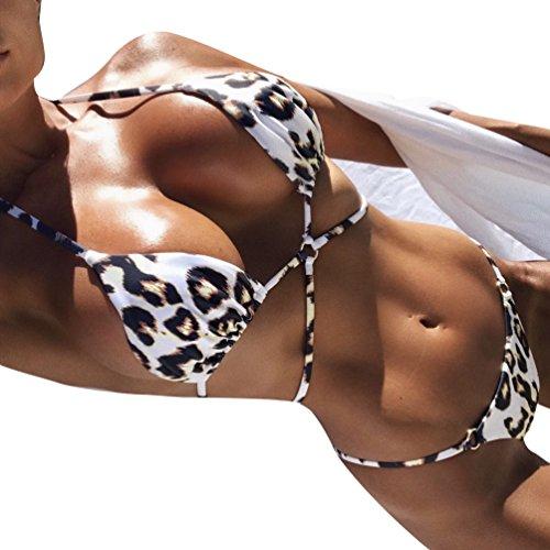 Yuanu Mujer Verano Backless Cuello Colgante Bikini 2 Piezas Conjuntos Sexy Leopardo Estampado Cruz Bandage Traje De Baño Dividido Leopardo S