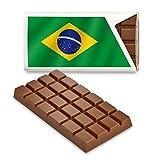 12 kleine Tafeln Schokolade - Fanartikel Süßigkeiten - Große Auswahl Länder, Nationen, Fahnen - Vollmilch (Brasilien)