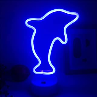 Qunlight Neon Night Light Dolphin Shaped with Blue Lamp USB & Battery Powered No Heat Table Lamp, Decoration for Wedding Sign, Birthday Party,Kids Room, Living Room,Bedroom,or Bar(Dolphin)