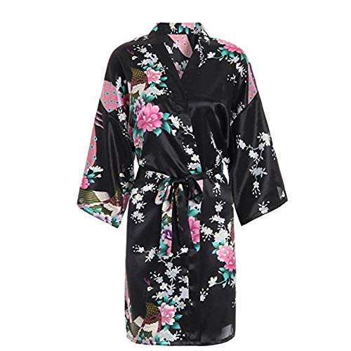 Vrouwen S Klassieke Satijnen Pauw Bloemenprint Kimono Stijl Gewaad Jurk Met Zakken Middellange Bruiloft Bruid Gewaad Nachtjapon S Xxxl