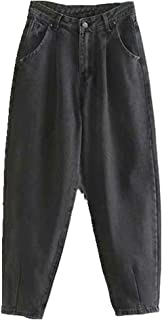 N\P Jeans Mujeres Suelto Casual Harem Pantalones Novios Mamá Jeans Ropa de calle Pantalones de mezclilla Plisados Pantalon...
