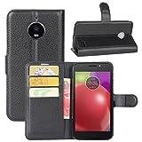 HualuBro Custodia Moto E4, [Intorno Protezione] Custodia in Pelle PU Leather Portafoglio Wallet Protettiva Case Flip Cover per Motorola Moto E4 (4th Gen.) 2017 Smartphone (Nero)