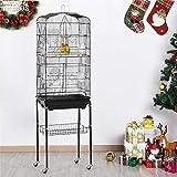 Yaheetech Cage à oiseaux grande cage à perruches volière mangeoire noir 46 x 35,3 x 150,6 cm avec support mobile