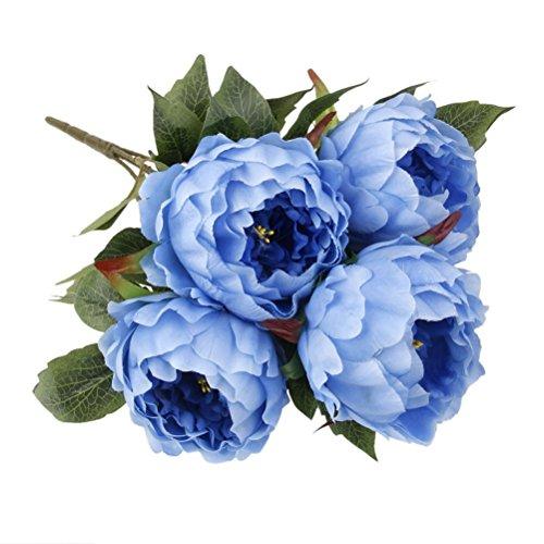 PIXNOR 5-cabeza Ramo de flor de peonía artificiales decoración fiesta (azul)
