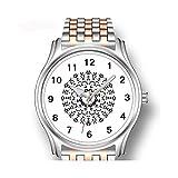 Reloj de pulsera para hombre, oro rosa, de acero inoxidable, deportivo, diseño abstracto, otoño
