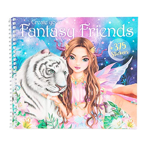 Depesche 11164 Malbuch mit Stickern Model, Create Your Fantasy Friends, ca. 20,2 x 18 x 1,2 cm
