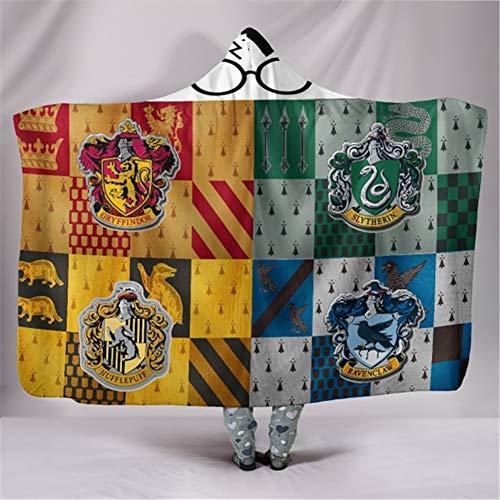 Manta con capucha de Harry Potter impresa digital en 3D, de terciopelo ártico, capa doble gruesa, para adultos y niños, 130 x 150 cm