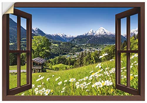 Artland Wandbild selbstklebend Vinylfolie 70x50 cm Wanddeko Wandtattoo Fensterblick Fenster Alpen Landschaft Berge Gebirge Blumen T5TP
