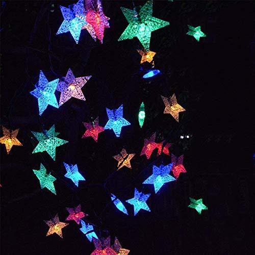 YiYunTE Lichterkette mit Sternen, batteriebetrieben, Kupferkern, 6 m, 40 Stück, LED, funkelnd, Glühwürmchen, Sternenlicht für Weihnachten, Hochzeit, Garten, Schlafzimmer, Party, Geburtstag, Dekoration