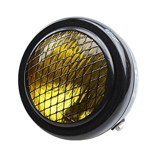 IPOTCH 6 1/2'lámpara ámbar Negra Del Faro de La Parrilla de La Motocicleta para Los Choppers Cafe Racer