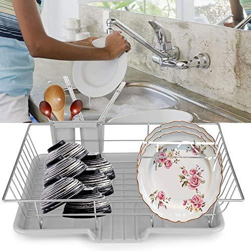 Escurreplatos de metal con cesta para cubiertos y bandeja para escurrir cubiertos, soporte para vajilla, para cocina, platos y cubiertos, 48 x 30 x 11 cm