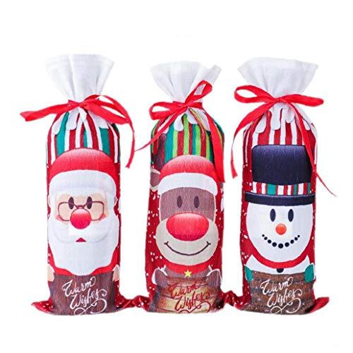 Wilk Flasche Weihnachtswein-Abdeckung Zugbänder Weinflasche Abdeckungen Mit Bandagen Sankt-schneemann Elk-Flaschen-Beutel-Wein-Flaschen-dekor Weinflasche Pullover Weinflasche Kleid Sets