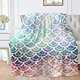 Subhuti Pearl Mermaid Fish Scale Flannel Throw Blankets - Super Soft Fuzzy for Sofa, Couch Bed Multi-Size Selection 50'x40' for Baby
