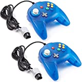 miadore 2 Pack Mini N64 Controller, Classic N64 Game Pad Joystick for N64 System Video Game Console (Ocean Blue)