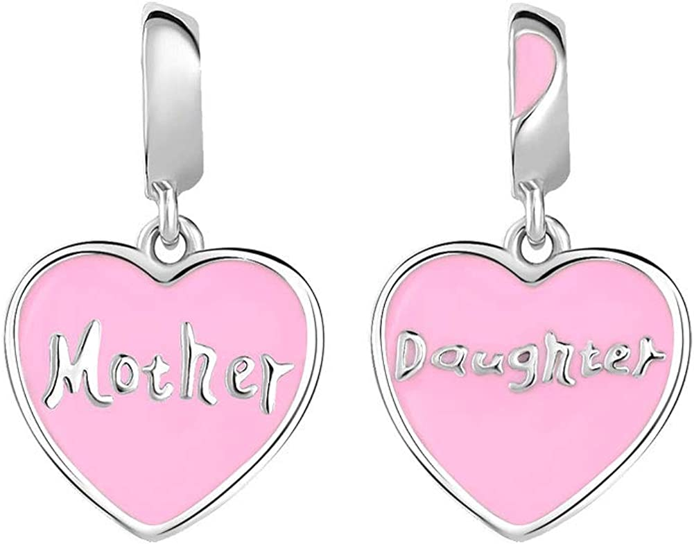 CharmSStory Mother and Daughter Charm Heart Bead for Snake Chain Bracelet