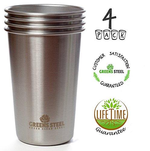 17oz 500ml vasos de acero inoxidable irrompible Canteen Set-Ideal para uso en interiores, exteriores, camping-niños y bebé Friendly-acero de grado de alimentos, sin BPA,/sin plomo. (4unidades)