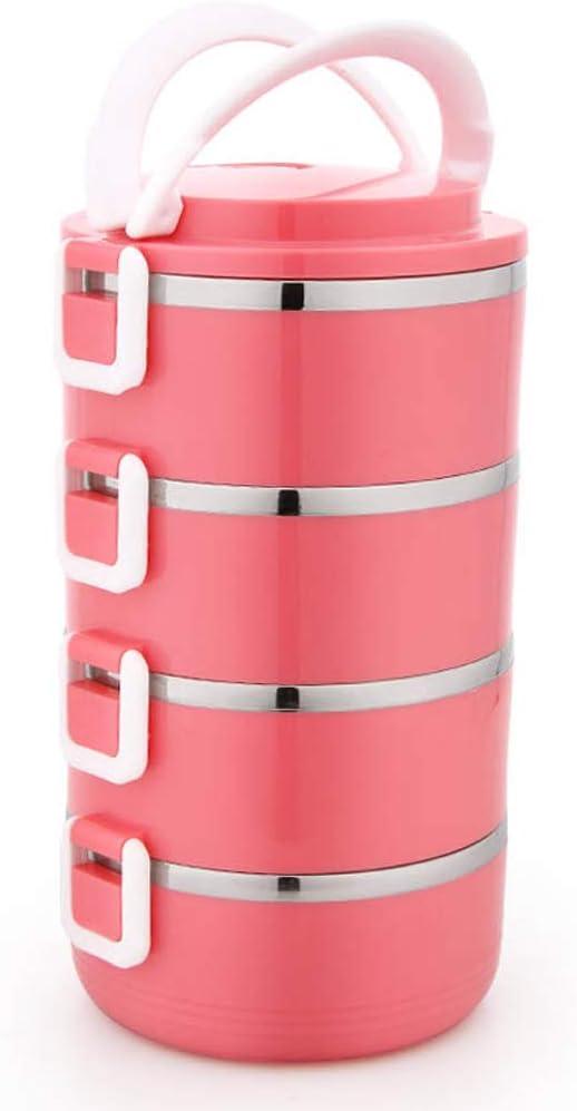 XXT Fiambrera aislada Fiambrera de Acero Inoxidable 2.8L Fiambrera portátil de múltiples Capas (Color : Red)