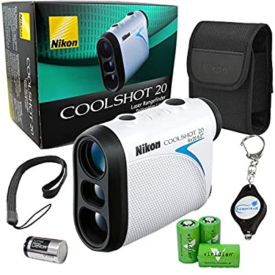 Nikon Coolshot 20 Golf Laser Rangefinder 550 Yard Range Bundle with 3 Extra Viridian CR2 Batteries and a Lumintrail Keychain Light from Nikon
