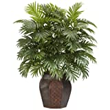 Nearly Natural Areca Palm with Vase Silk Artificial Plant, 42' x 11' x 11', Green
