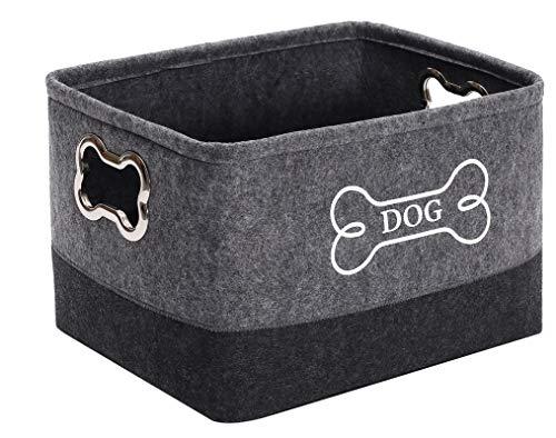 Canastas de fieltro para cachorros, caja de juguete para mascotas grande con mango de metal diseñado – Perfecto para guardar golosinas secas para perros, collares,ropa y cualquier cosa de perr