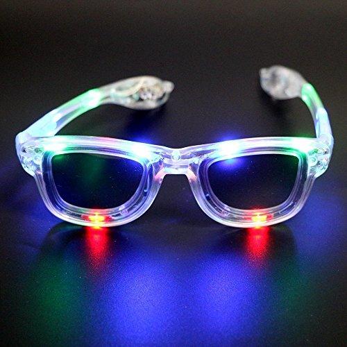 Atcket (Wei?) LED blinkende Sonnenbrille in 4 verschiedenen Farben Unisex f¨¹r Erwachsene und Kinder / LED leuchten Gl?ser f¨¹r Party