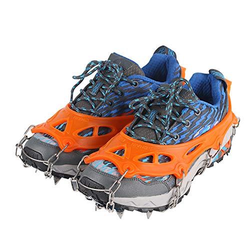 LGFV 8 Dents Griffes Crampons, Neige Et Glace Taquet avec Chaîne en Acier Inoxydable pour La Marche Randonnée Camping Alpinisme Chasse Escalade,42