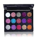 1set Glitter Eyeshadow Palette Shimmer Ombra Pennello 15 Shades Lucido E Pigmentato Ombretto Minerale Cipria Paillettes Ombretti Occhi Scintillanti Make Up (01)