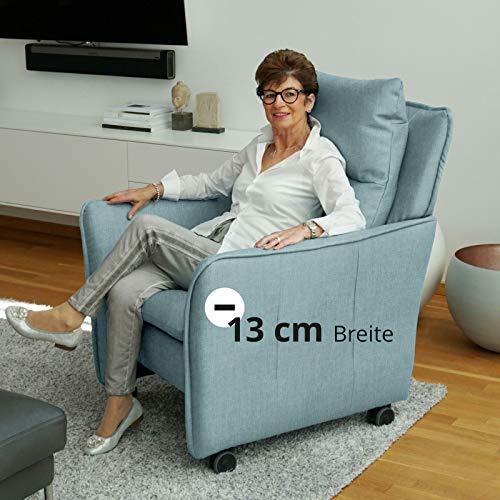 place to be. Relax-Sessel mit Funktion auf Leichtlauf-Rollen in Premiumqualität im skandinavischem Stil. Ohrensessel rollbar mit Schlaffunktion - schmale Version dunkelgrau elektrisch 1-motorisch