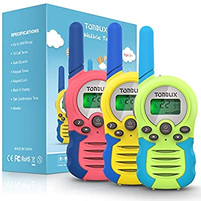 Walkie Talkies for Kids, 3 Pack 22 Channels 2 Way Radio Toy 3 Miles Long Range Kids Walkie Talkies for Age 3 4 5 6 7 8 9 10 11 12 Years Old Boys Girls Gift for Outdoor Adventure Game Camping Hiking from TONBUX