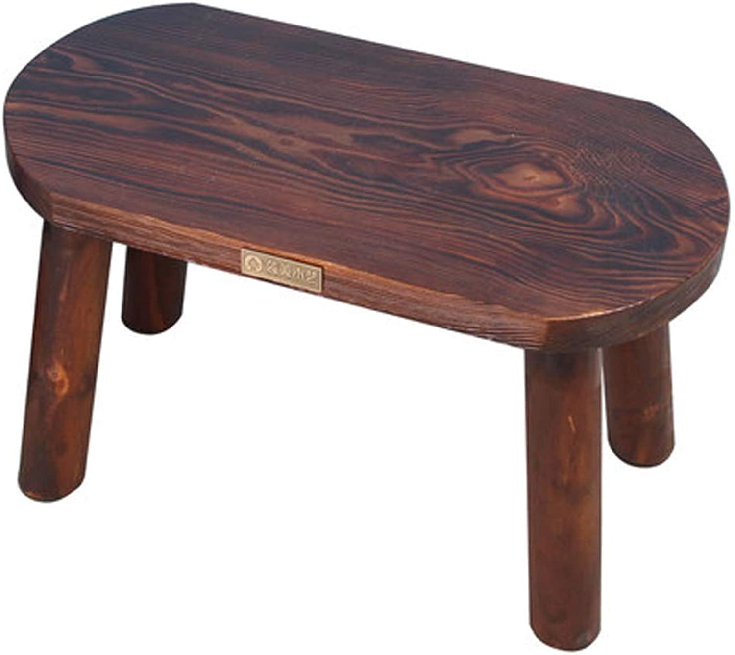 Solid Wood Stool, Elliptical Stool Coffee Table Stool Anti-Corrosion Stable and Wear-Resistant,A
