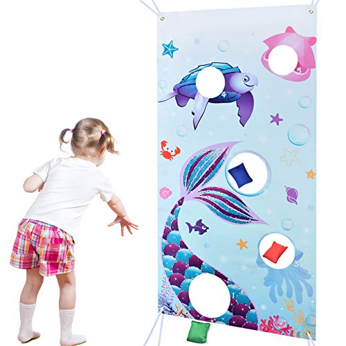WERNNSAI Mermaid Tail Toss Game Banner with 3 Bean Bags - Blue Ocean Theme Bean Bag Game Sets Party Games for Kids Birthday Party Favors Under the Sea World Party Supplies Outdoor Yard Game