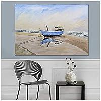 青い帆船キャンバス油絵海のリビングルームダイニングルームの装飾壁アートプリントキャンバスポスタープリント-70x100cmx1フレームなし