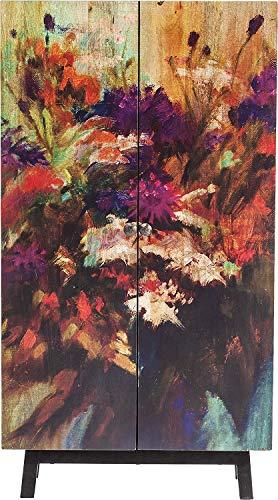 Kare Design Schrank Fleur, farbenfroher Hochschrank mit 2 Türen und Blumenmotiv, moderne Hochkommode Massivholz, einzigartiger kleiner Kleiderschrank, (H/B/T) 140x76x30cm