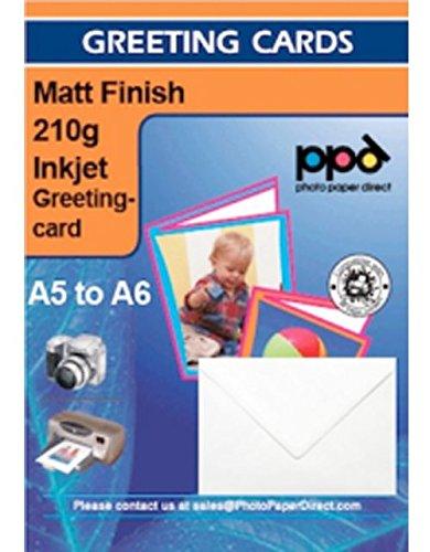 PPD Inkjet 210 g/m2Blanko Grußkarten Weiß Matt Bedruckbar A5 gefalzt auf A6 x 50 Karten - PPD087-50