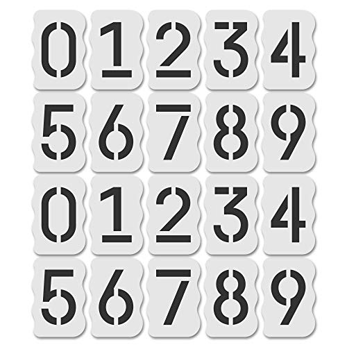 Curb Stencil Kit for Address Painting, All Numbers - 14 Mil Mylar Plastic [4' Tall Numbers, 2 of Each] (Classic Stencil Font + Curb Frame)
