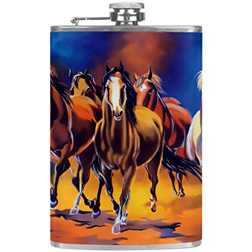8 Oz Flat Liquor Flask with Funnel Leak Proof Stainless Steel Pocket Hip Flask White Brown Horse