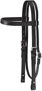 Tough-1 Western Leather Browband Draft Headstall - Black
