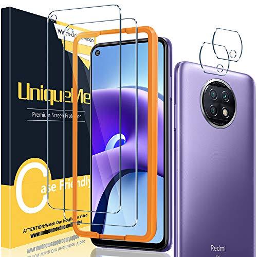[2+2 Stück] UniqueMe Schutzfolie Kompatibel mit Xiaomi Redmi Note 9T Folie, Kamera Panzerglas Bildschirmschutzfolie Xiaomi Redmi Note 9T [9H Festigkeit] Gehärtetem Glas HD [Anti-Bläschen] Panzerglas.