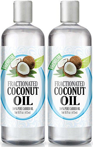 Fractionated Coconut Oil 16oz - 100% Pure, Premium Therapeutic Grade - Best Base or Carrier Oil for Aromatherapy, Essential Oil, and Massage - Large 16 Ounce Size - Pack of 2