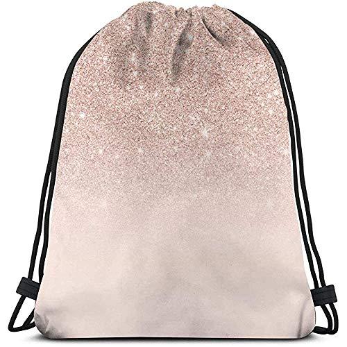 Gym Drawstring tas, roségoud roze ombre kleur tote rugzak zak zak gym zak tas tas voor reizen strand badpak opbergtas